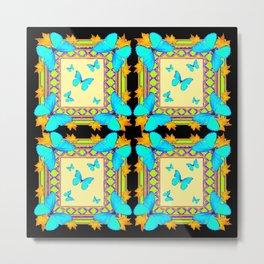 Southwestern Turquoise Butterflies Gold Black Patterns Art Metal Print