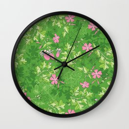 Forest Wildflowers / Green Background Wall Clock