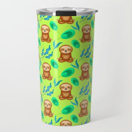 Funny cute happy cross-legged meditating relaxed chilling sloths and tropical rainforest exotic gree Travel Mug
