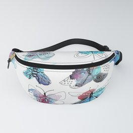 blue watercolor butterflies Fanny Pack