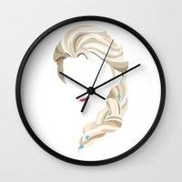 elsa Wall Clocks featuring Elsa by Bethany Mallick