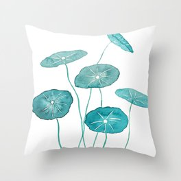 whorled umbrella plant leaf watercolor Throw Pillow