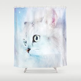 Fluffy starry cat Shower Curtain
