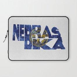 Nebraska Typographic Flag Map Art Laptop Sleeve