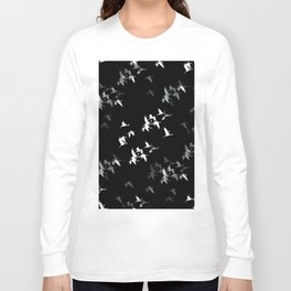 Abstract Black and White Crane Flock #decor #society6 Long Sleeve T-shirt