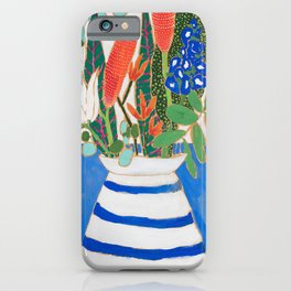 Nautical Striped Vase of Flowers iPhone Case