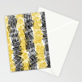 Bold Criss Cross Hatch Texture Painting in Black & Yellow. Ink Artwork Stationery Cards