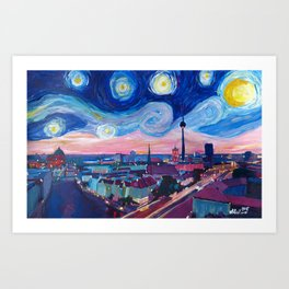 Starry Night in Berlin - Van Gogh Inspirations in Germany with Skyline Art Print