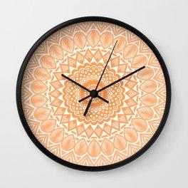 Orange Tangerine Mandala Detailed Textured Minimal Minimalistic Wall Clock