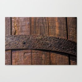 Old wood and rusty metal of a barrel Canvas Print