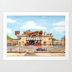 Meeting at the burger joint Art Print