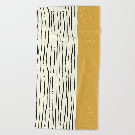Gold Zebra Stripes Beach Towel