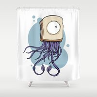 jelly fish Shower Curtains featuring Peanut butter jelly fish by welldunn
