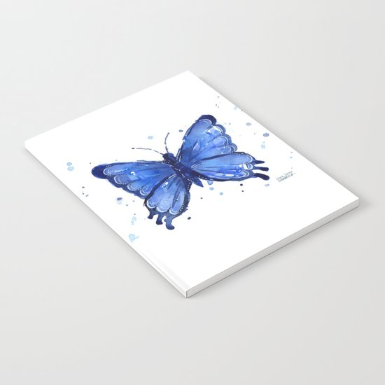 Butterfly Blue Watercolor Animal Painting Notebook