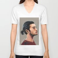 zen V-neck T-shirts featuring Zen by Rosketch