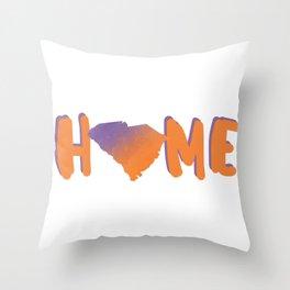 South Carolina Home Map Watercolor Print Throw Pillow