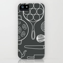 kitchen tools (white on black) iPhone Case