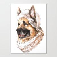 german shepherd Canvas Prints featuring German Shepherd by Petty Portraits