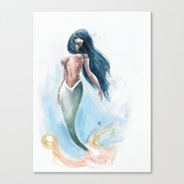 Mermaid Watercolor Canvas Print