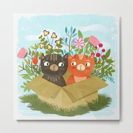 Carton Of Cute Kitties Metal Print