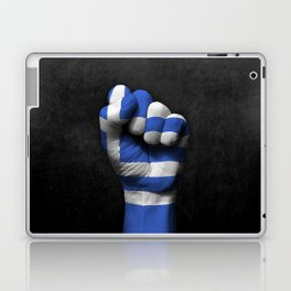 Greek Flag on a Raised Clenched Fist Laptop & iPad Skin