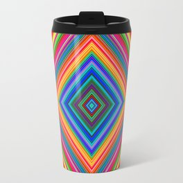 Rainbow Abstract Psychedelic Neon Dawn Triangle Design - Pink and  Orange Travel Mug