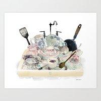 Washing the Dishes Art Print
