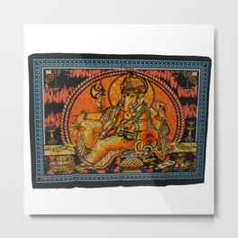 Indian Hindu God Ganesha Yoga Mat Wall Tapestry Metal Print