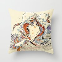 red Throw Pillows featuring The Wave of Love by Huebucket
