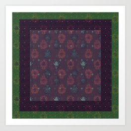 Lotus flower patchwork with green border, woodblock print style pattern Art Print