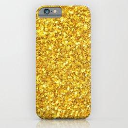 Yellow Gold Glitter Print iPhone Case