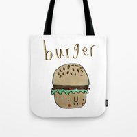 burger Tote Bags featuring Burger by Tuesday Logan