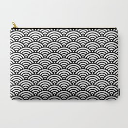 Black White Mermaid Scales Minimalist Carry-All Pouch