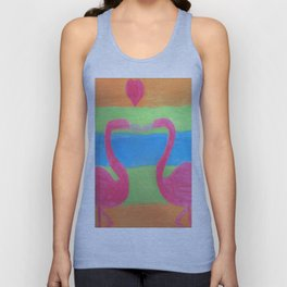 Pink Flamingo Mural Art Unisex Tank Top