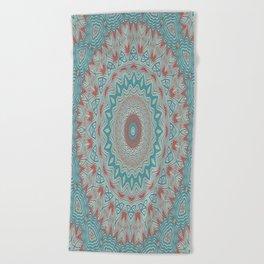 Tribal Medallion Teal Beach Towel