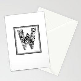 Zentangle W Monogram Alphabet Initials Stationery Cards
