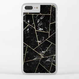 Black Marble Gold Geometric Glam #1 #geo #decor #art #society6 Clear iPhone Case