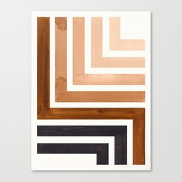 Raw Umber Mid Century Modern Watercolor Colorful Ancient Aztec Art Pattern Minimalist Geometric Patt Canvas Print