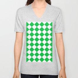 Large Diamonds - White and Dark Pastel Green Unisex V-Neck