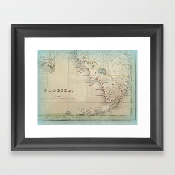 Antique Florida Keys Map Framed Art Print By Karengrossman Society6