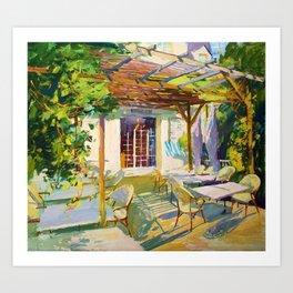 Breakfast in sunny Normandy Art Print