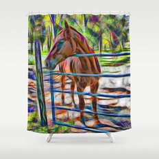 Abstract horse standing at gate Shower Curtain