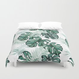 Botanical Green Monstera Leaf Duvet Cover