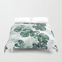 Botanical Green Monstera Leaf Duvet Cover
