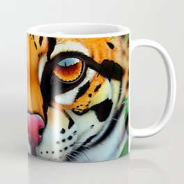Ocelot in jungle and frog friend Coffee Mug