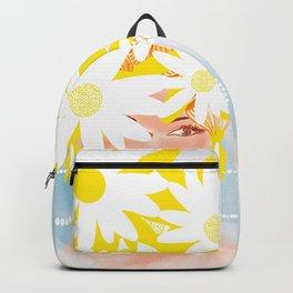 Hello Summer! Woman with Daisy Flowers - Happy Vibes - Illustration #decor #society6 #buyart Backpack