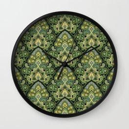 Green and Blue Paisley Wall Clock