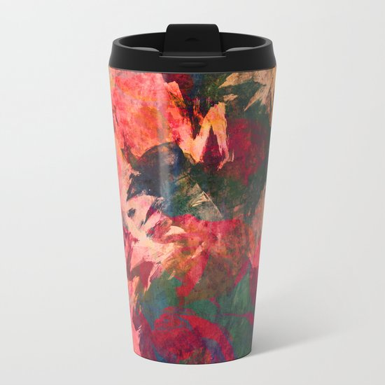 It's Complicated, Abstract Leaves Metal Travel Mug