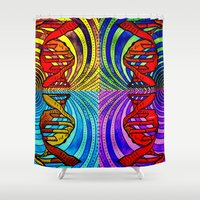 dna Shower Curtains featuring DNA #3 by Art By Carob