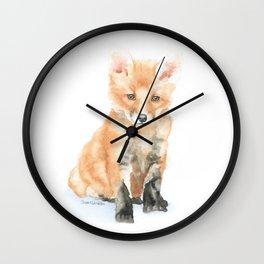Baby Fox Watercolor Painting - Woodland Animal Wall Clock
